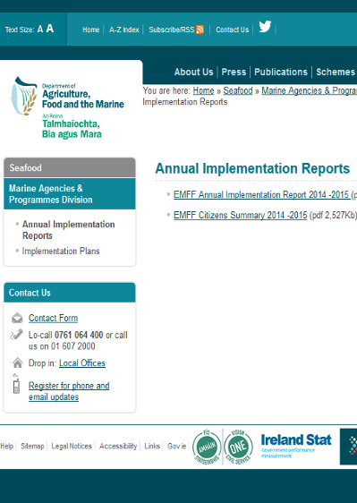 EMFF Operational Programme for Ireland Annual Implementation Reports